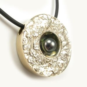 Custom Made Reticulated Silver, 14k Gold With Akoya Black Pearl Pendant
