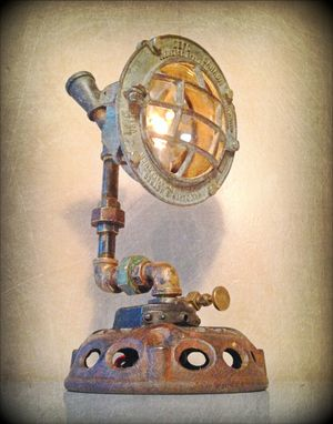 Custom Made Found Object Steampunk Sculpture Lamp