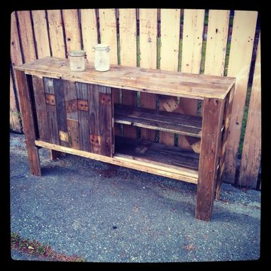 Hand Made Reclaimed Pallet Wood Entertainment Center With