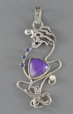 Custom Made Nautical Sterling Silver Pendant With Sugilite