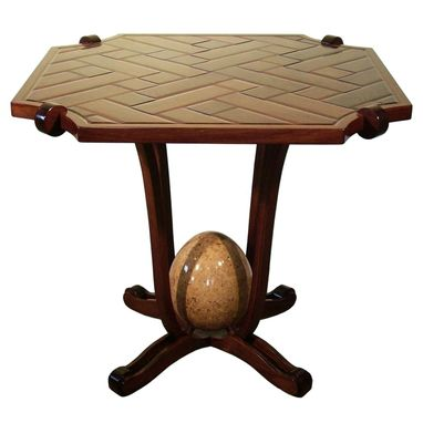 Custom Made Beveled Parquet Table With Sculpted Egg
