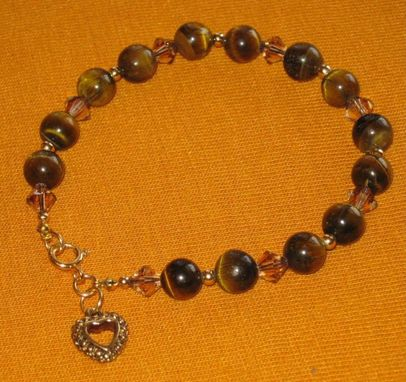 Custom Made Gold Tiger-Eye And Crystal Bracelet - Free Shipping