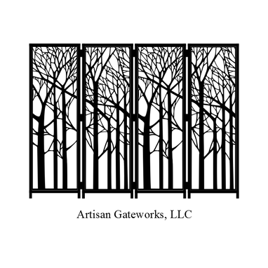 Custom Made Decorative Steel Room Divider - Enchanted Forest - Privacy Screen - Steel Panel - Custom - Handmade