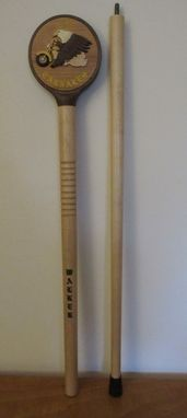 Custom Made Custom Walking Stick With Intarsia Inlay