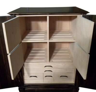 Custom Made Japanese Inspired Sculpted Standing Floating Cigar Humidor Cabinet
