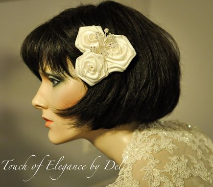 Custom Made Ivory Bridal Hair Clip / Headpiece / Corsage With Roses And Bling