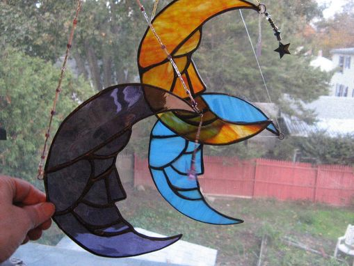 Custom Made Stained Glass Moon Light Catcher With Crystal Star Dangle