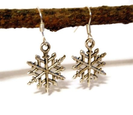 Custom Made Silver Snowflake Earrings