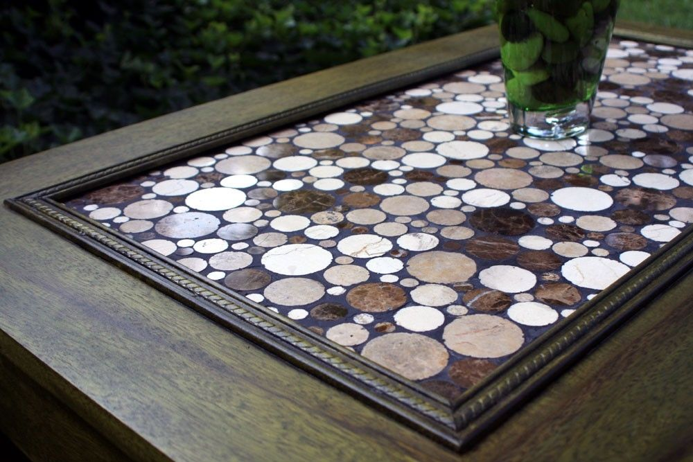 Hand Made Coffee Table Circular Marble Tile Mosaic Contemporary Limba Wood Moss Green Dyed