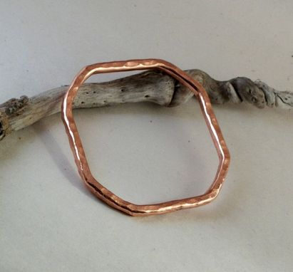 Custom Made Square Copper Bangle With Oak Design