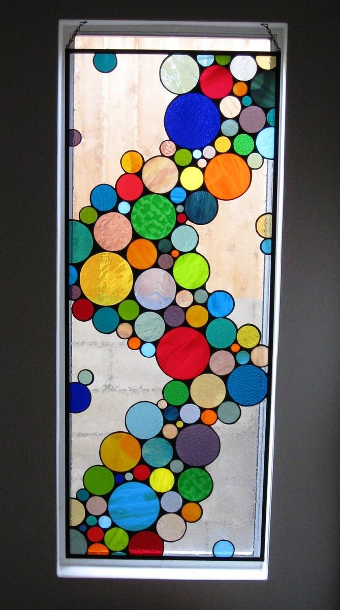 Custom made large contemporary stained glass bubble window for Contemporary stained glass