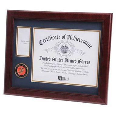 Custom Made U.S. Marine Corps Medallion Certificate And Medal Frame