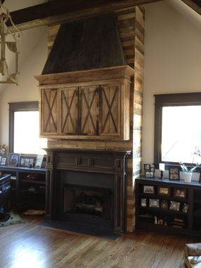 Custom Made Fireplace Installation Mantle Media Cabinet Reclaimed Wood Zinc Hood