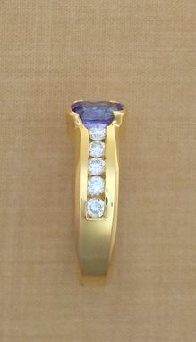 Custom Made Oval Tanzanite & Diamond Ring - Low Profile - 18k Yellow Gold - December Birthstone