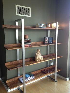Custom Made Walnut & Stainless Steel Modern Bookcase