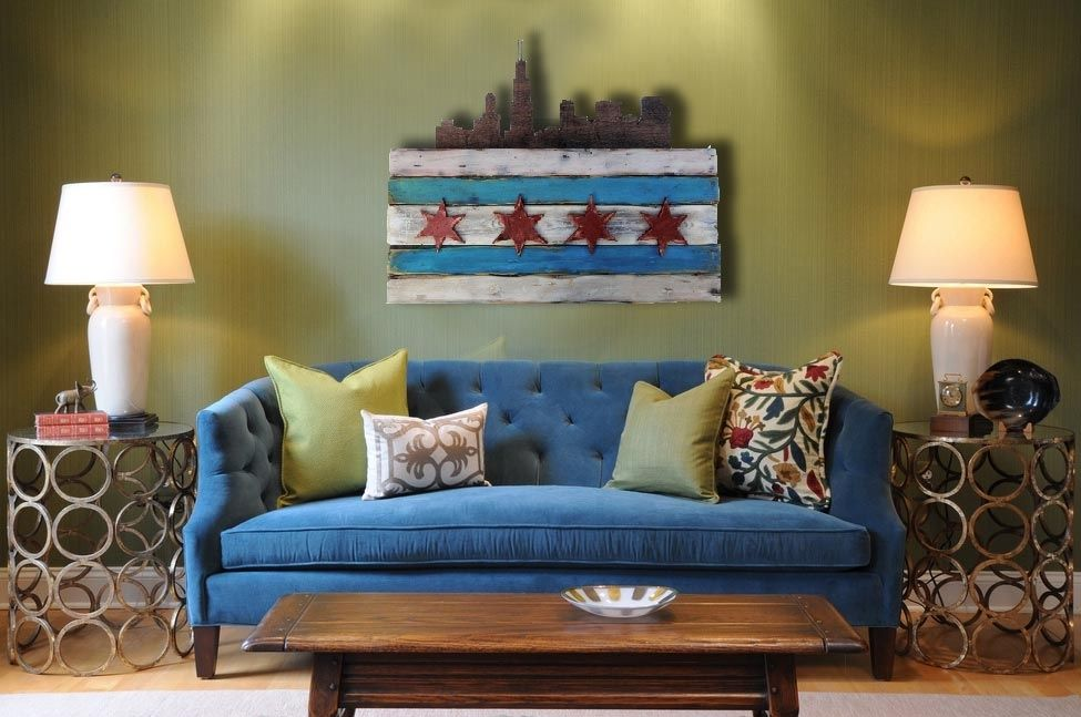 Custom Made Distressed Wooden Chicago Flag By Chris Knight