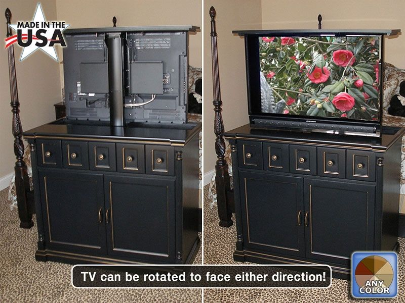 Custom Made Black Foot Of The Bed Tv Lift Cabinet With Swivel Mechanism