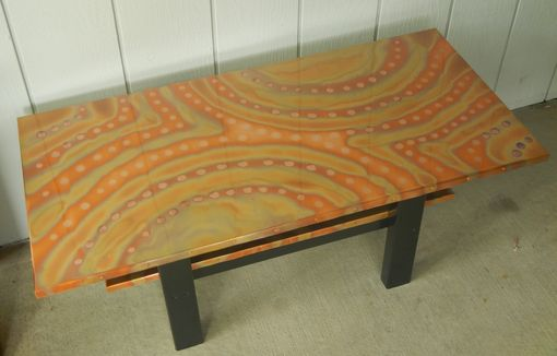 Custom Made Copper Coffee Table With Magazine Shelf
