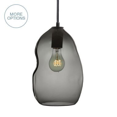 Custom Made Bubble Smoke Grey Hand Blown Glass Pendant Light- Black