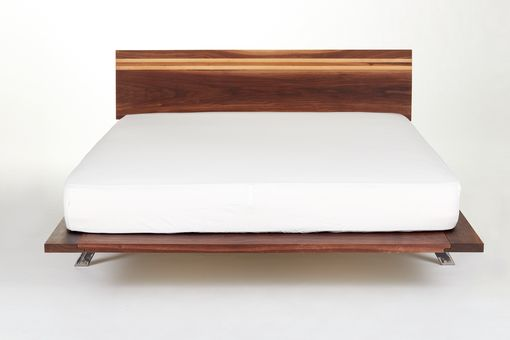 Custom Made Solid Walnut Mid Century Modern Bed