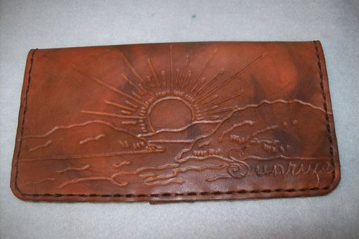 Custom Made Custom Leather Checkbook Cover With Personalization In Weathered Color