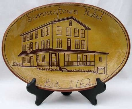 Custom Made Historic Building Plate Decorated Using The Sgraffito Technique