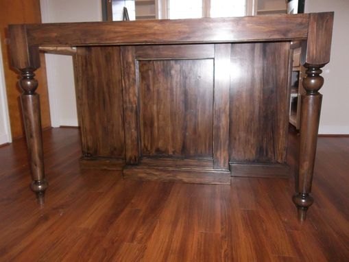 Custom Made Heirloom Stained Kitchen Island, Custom Built