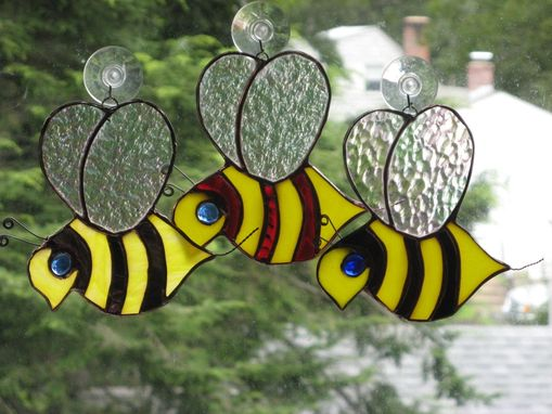 Custom Made Stained Glass Garden Bee