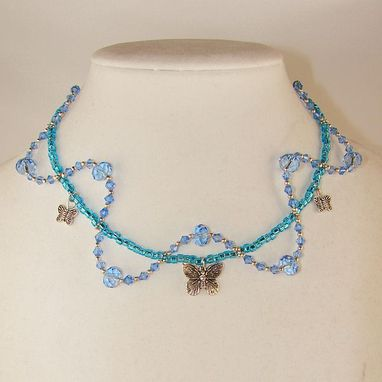 Custom Made Baby Blue Butterfly Necklace