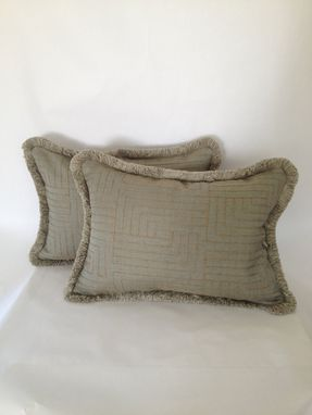 Custom Made Burlap Thread Embroidered On Smoky Blue Heavy Linen Pillow Cover