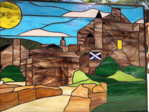 Custom Made All Original Scottish Bagpiper & Castle Stained Glass Window