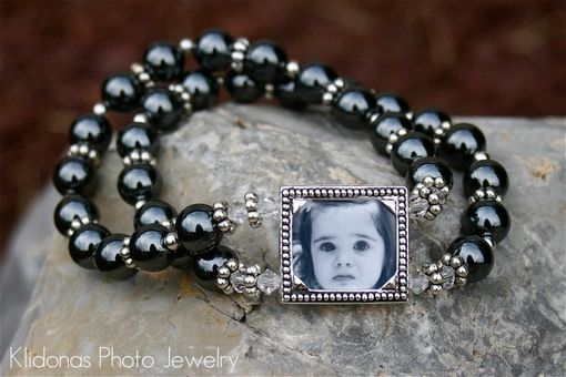 Custom Made Photo Bracelet With Black Hemalyke Beads For Mother Of The Bride And Groom