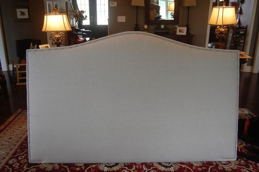 Custom Made Camelback Upholstered Headboard, Natural Linen, Silver Nailhead