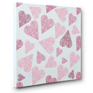 Custom Made Pink Scribble Hearts Canvas Wall Art