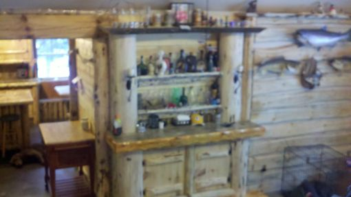 Custom Made Rustic Log Kitchen Cabinets And Bar