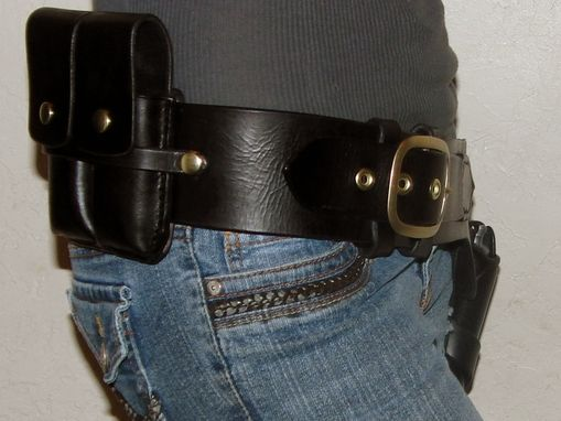 Custom Made Black Gunslinger Rig With Double Magazine Pouch Western Style Gun Fighter Belt With Lined Holster