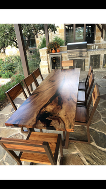 Custom Made Spalted Pecan Dining/Patio Set With Chairs