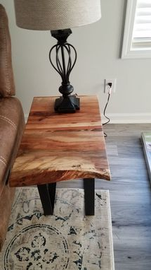 Custom Made Live Edge Solid Spalted Pecan And Cherry End Table With Industrial Metal Legs