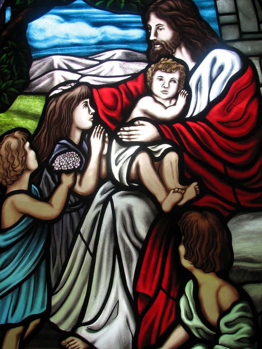 Custom Made Stained Glass Window Jesus And The Children