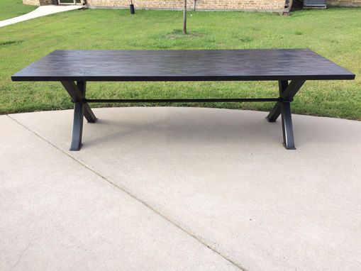 Custom Made Modern Industrial Hardwood Dining Table