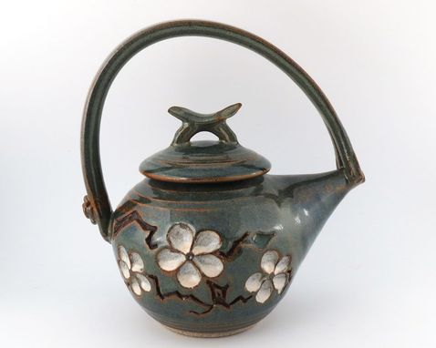 Custom Made Stoneware Teapot - Cherry Blossom