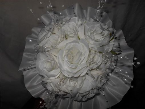 Custom Made White Silk Rose Bouquet