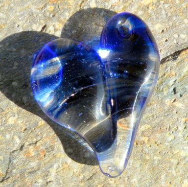Custom Made Hand-Blown Blue And Clear Glass Heart Pendant