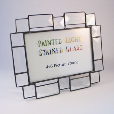 Custom Made 4x6 Stained Glass Bevel Picture Frame
