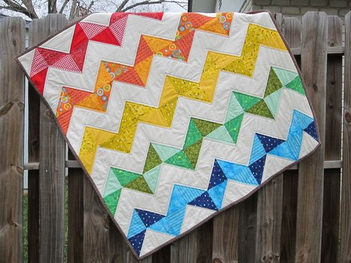 Custom Made Rainbow Chevron Quilt