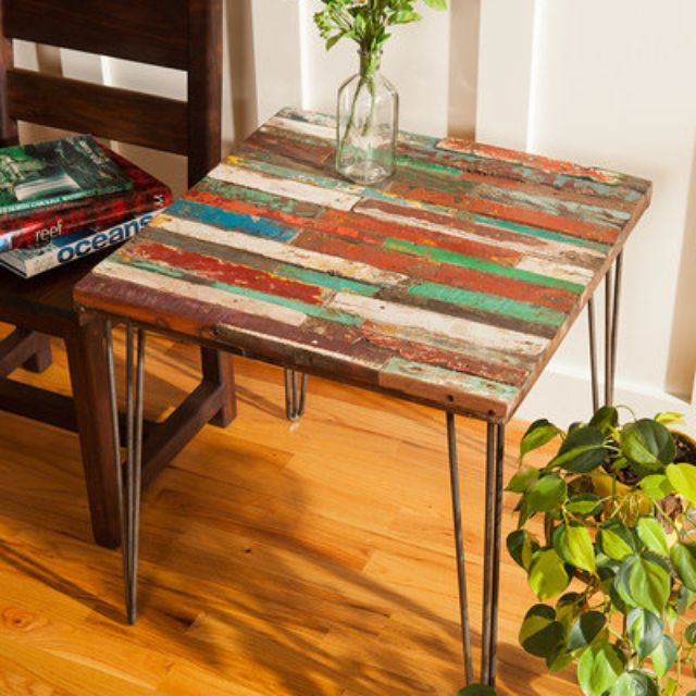 A Custom Reclaimed Bali Boat Wood End Table Teak Coffee Colorful Made To Order From Blowing Rock Woodworks Custommade Com