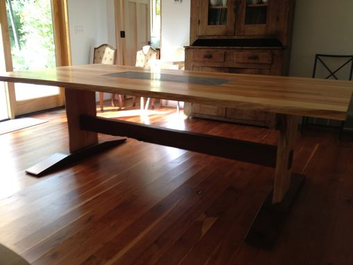 Custom Made Maple And Walnut Dining Table