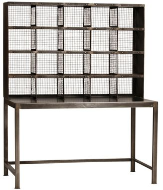 Custom Made Industrial Metal And Mesh Desk With Gallery