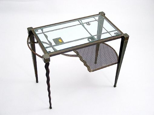 Custom Made End Tables :: Contemporary Metal Glass Entry Tables, Sculptural Furniture, Accent Tables