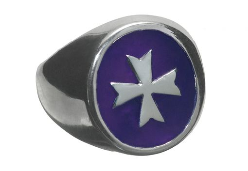 Custom Made Maltese Cross Synthetic Amethyst Templar Ring